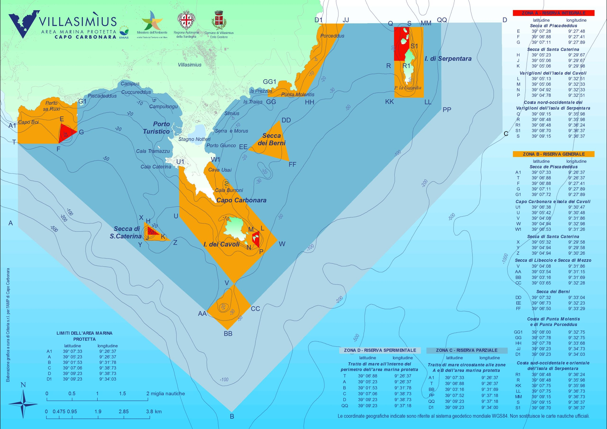 Area Marina Protetta Villasimius Zone a b c d